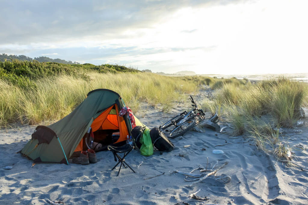Wild camping with bicycle