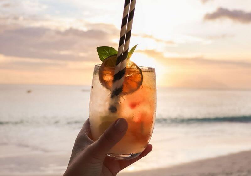 Beach cocktails at sunset RF