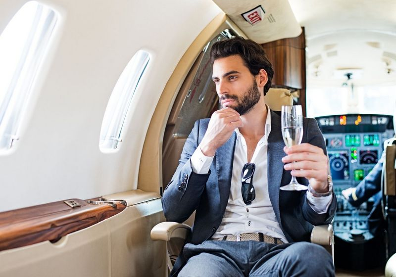 First business class flight plane flying champagne RF