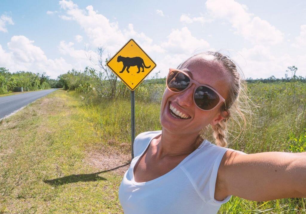Florida Panther Road Sign Female Traveler RF