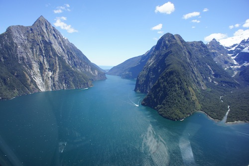 view of milford sound from helicopter