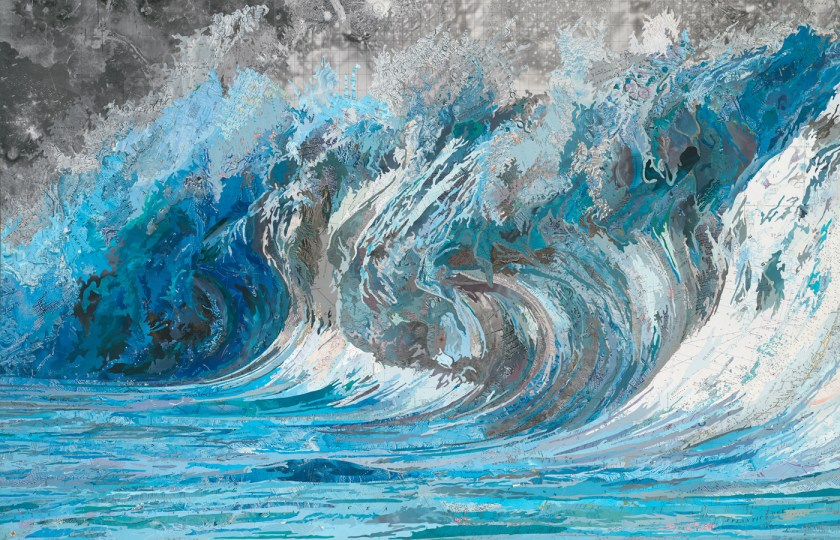 Matthew Cusick, Genevieve's Wave (after #3884 by Pierre Carreau), 2014 Inlaid maps on panel 40 x 62 inches.