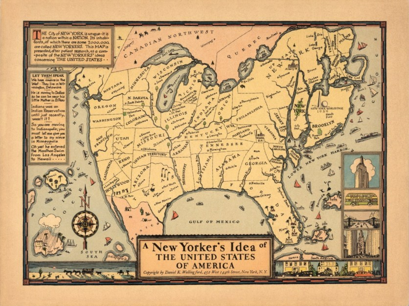 Daniel K. Wallingford, A New Yorker's Idea of the United States of America, 1937. David Rumsey Map Collection.