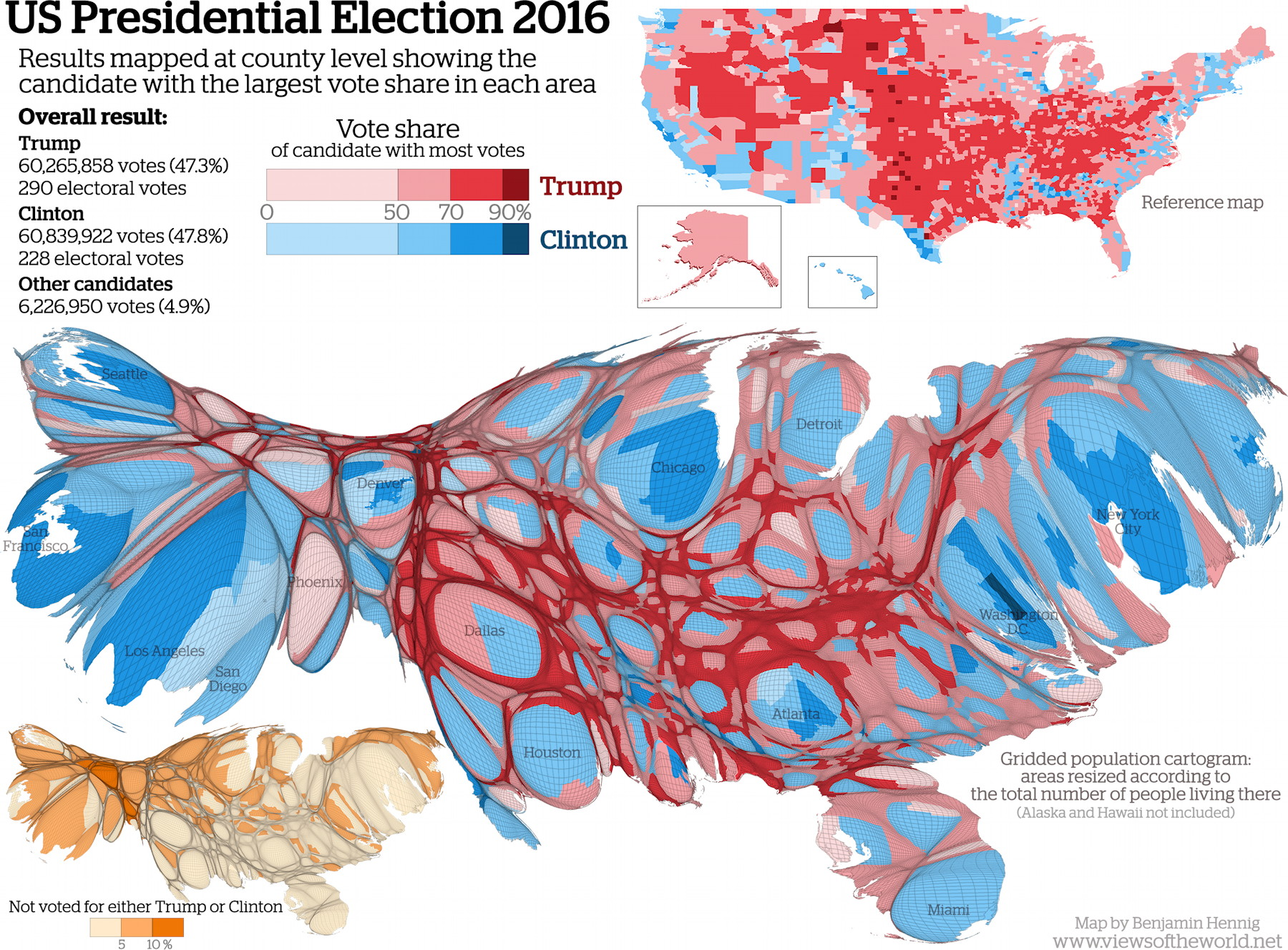 US Presidential Election Cartogram The Map Room