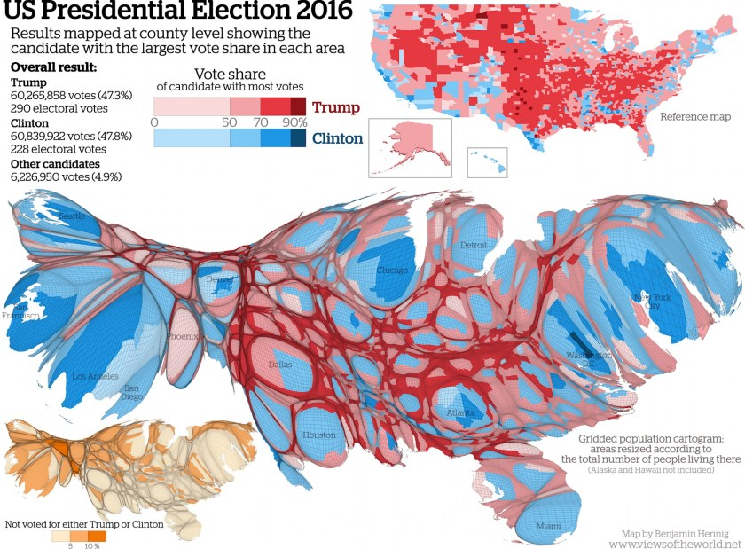 US Presidential Election Cartogram The Map Room - 2016 us map vote