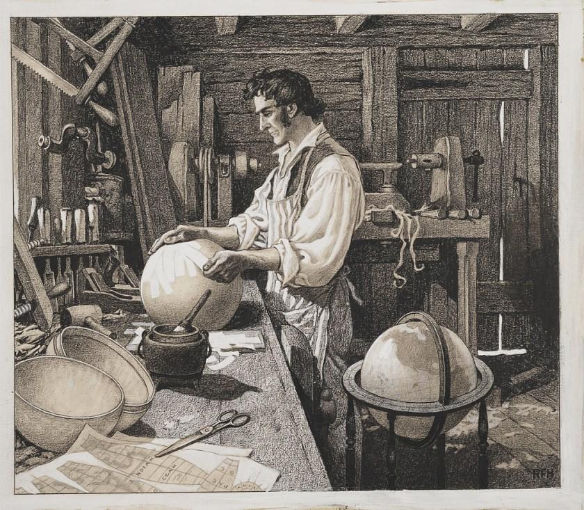 "Roy Frederic Heinrich, ""James Wilson, the Vermont globe-maker, Bradford, Vermont, 1810."" Library of Congress."