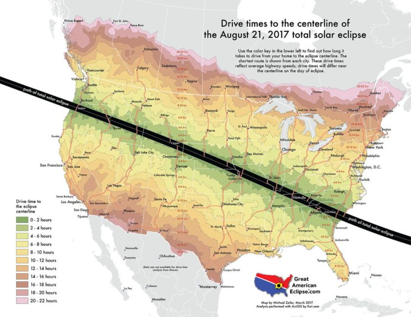 Drive times to the centerline of the August 21, 2017 total solar eclipse