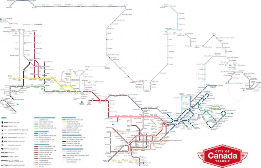 Fantasy Toronto Subway Map.Matthew Blackett S Transit Map Of Canada The Map Room