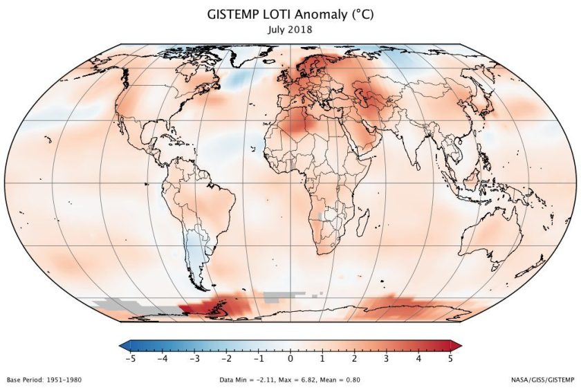 GISTEMP LOTI Anomaly Map, July 2018