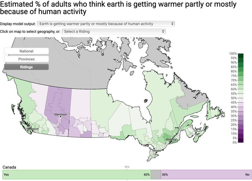 Screenshot of interactive map of Canadian public opinion on climate change