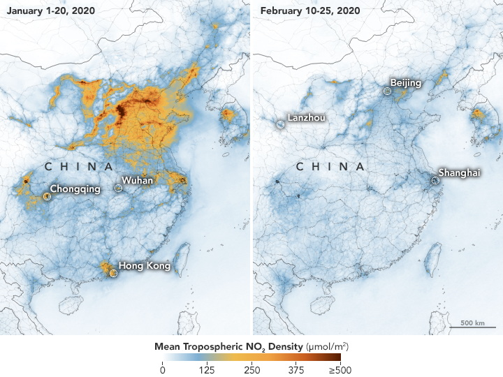 Map of mean tropospheric NO2 density over China, January-February 2020