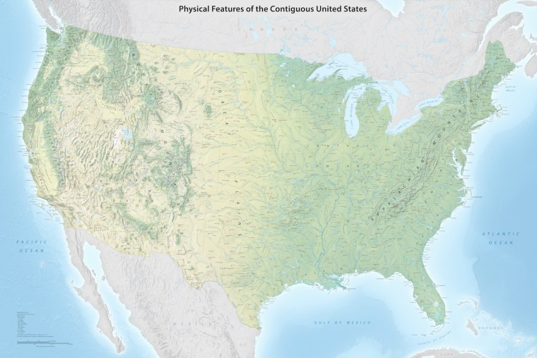 Physical Features Map of the Contiguous United States