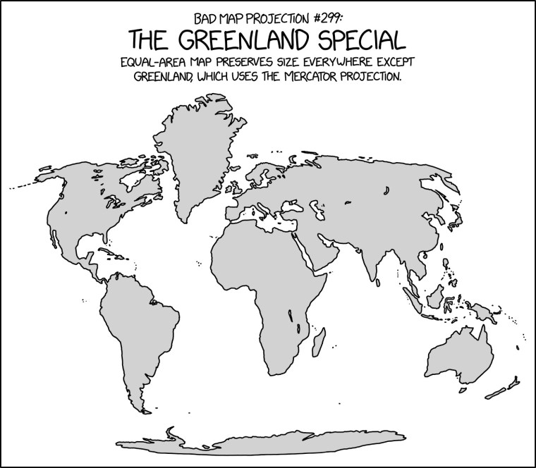 xkcd: Bad Map Projections: The Greenland Special