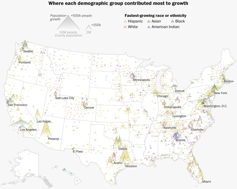 Washington Post map of demographic changes in the United States
