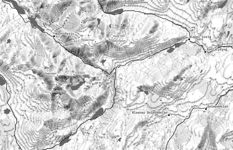 Detail of a hachure map created in QGIS (Robin Hawkes)
