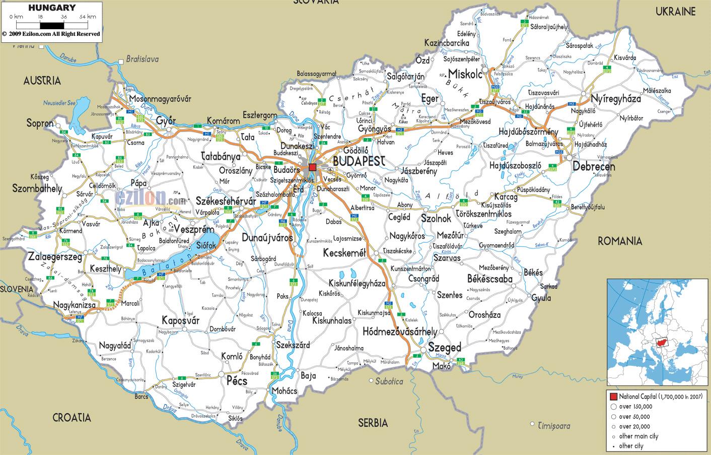 map hungary romania