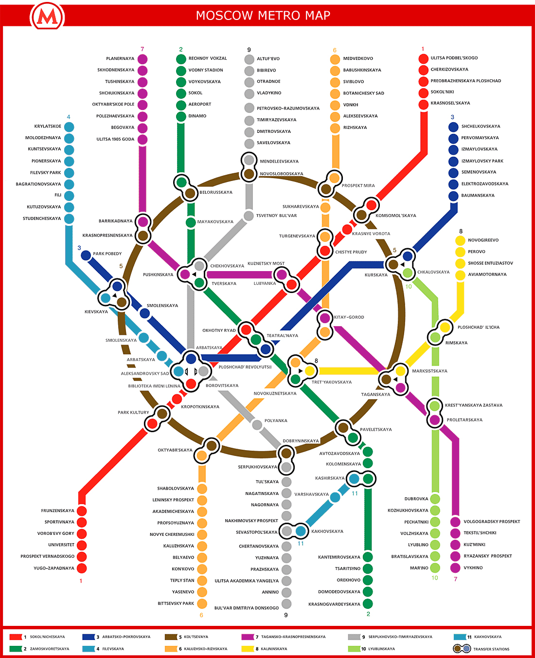 Map Moscow Russia Metro English