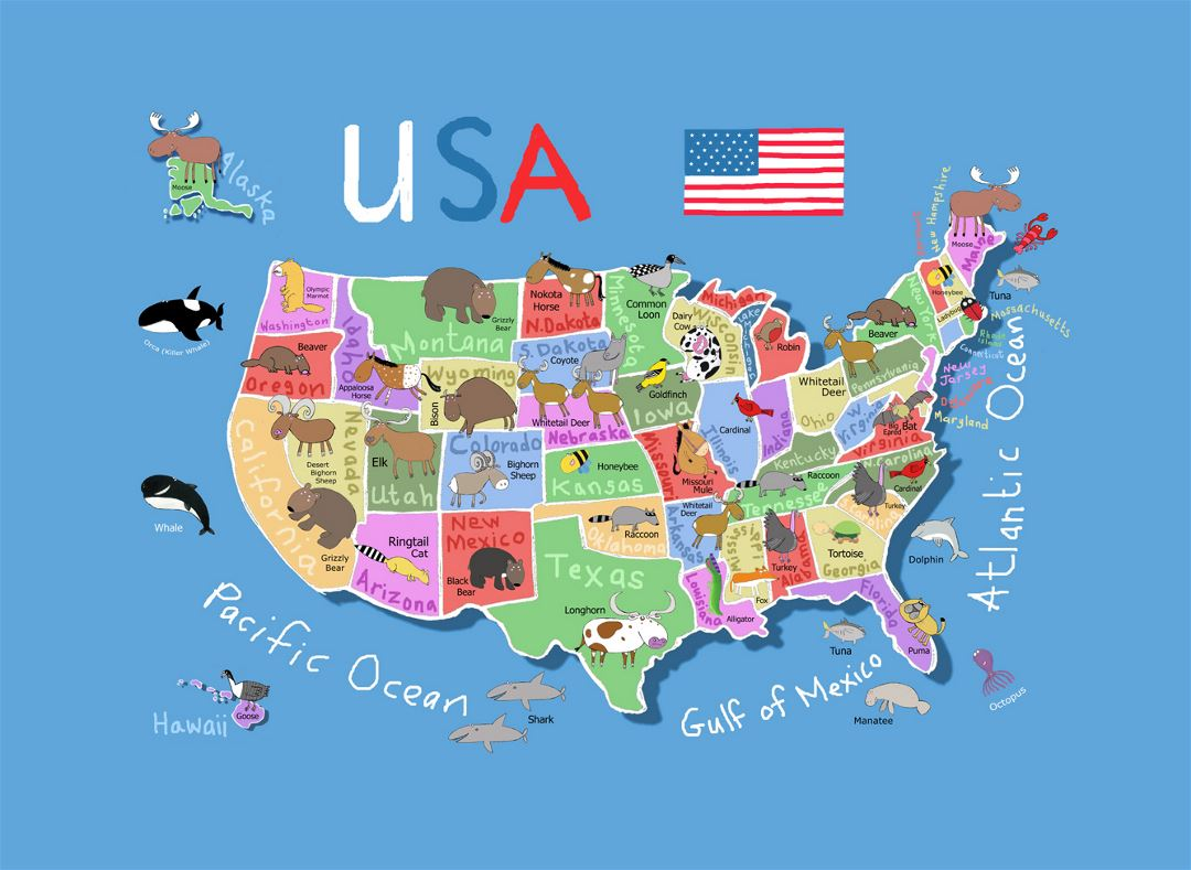 Detailed Cartoon Map Of The Usa