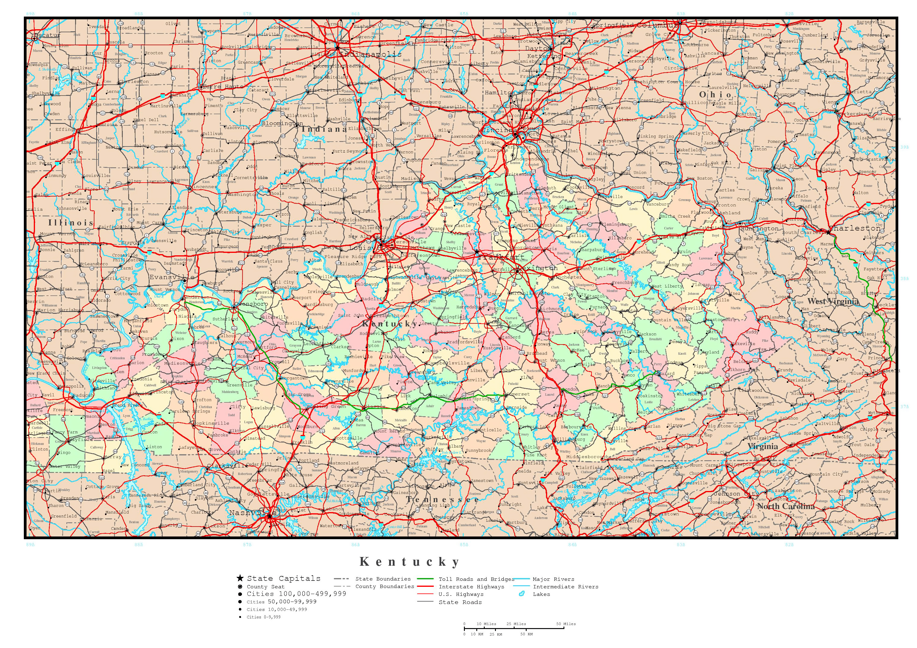Kentucky State Map With Cities And Counties.Kentucky State Map Cities Large