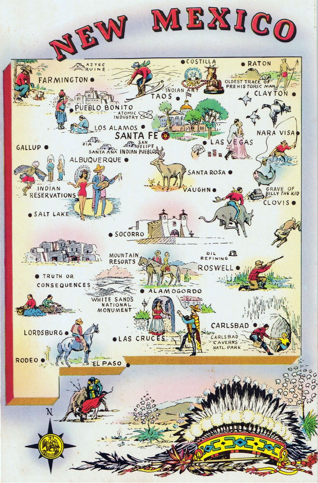 Detailed Tourist Illustrated Map Of New Mexico State