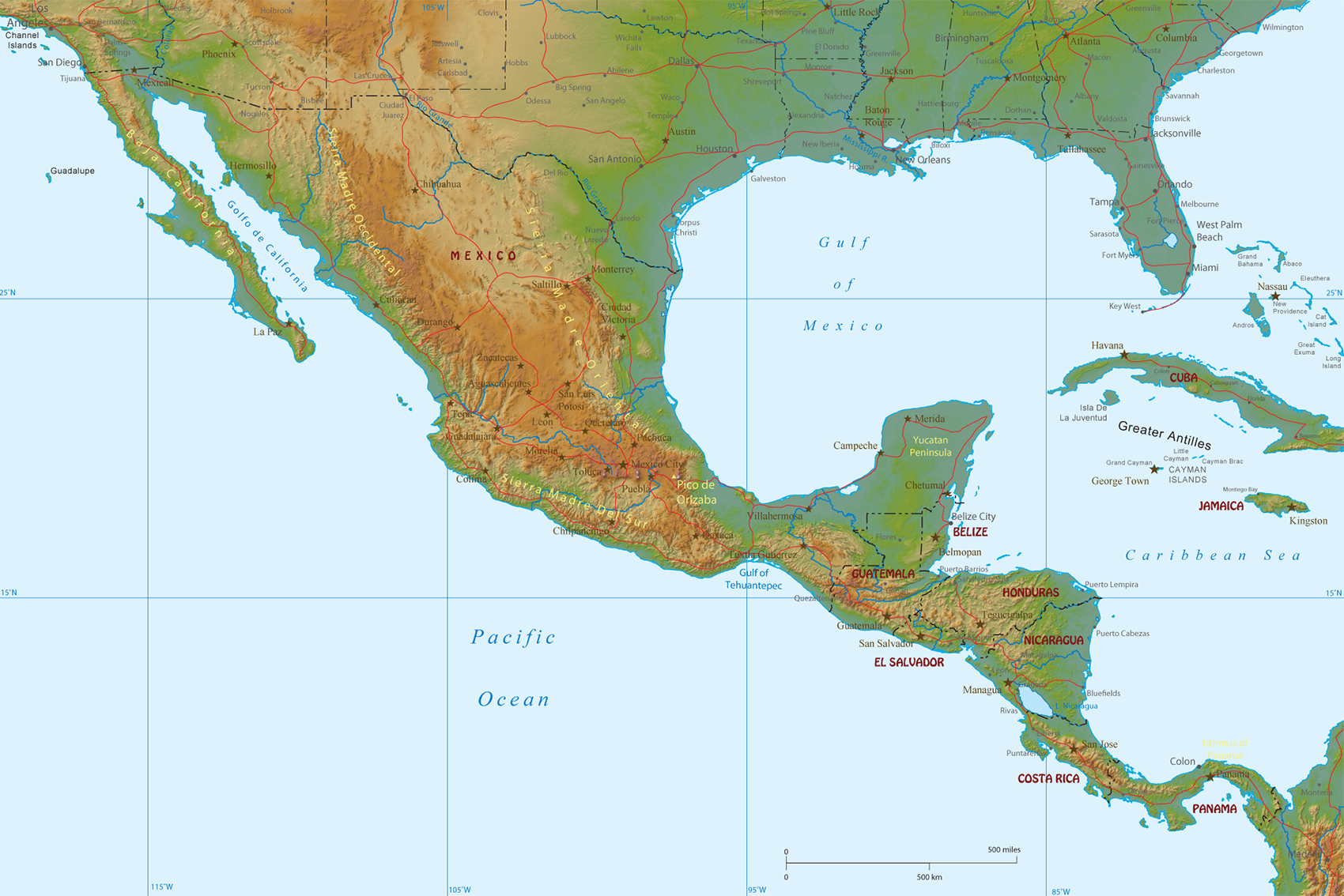 Physical Map Of Mexico And Central America