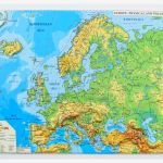 Europe Physical And Political Map 3d Projection Mercator 450x330mm