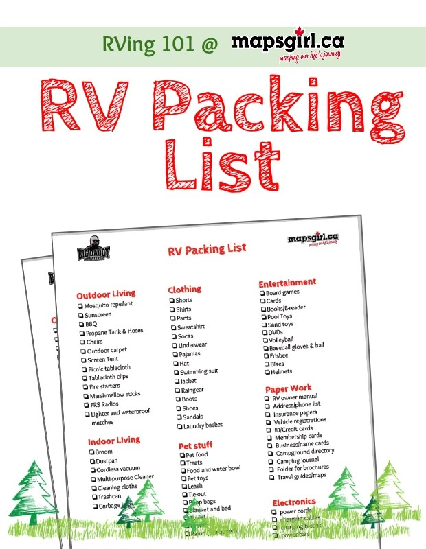 RV Packing List @ mapsgirl.ca #Rving
