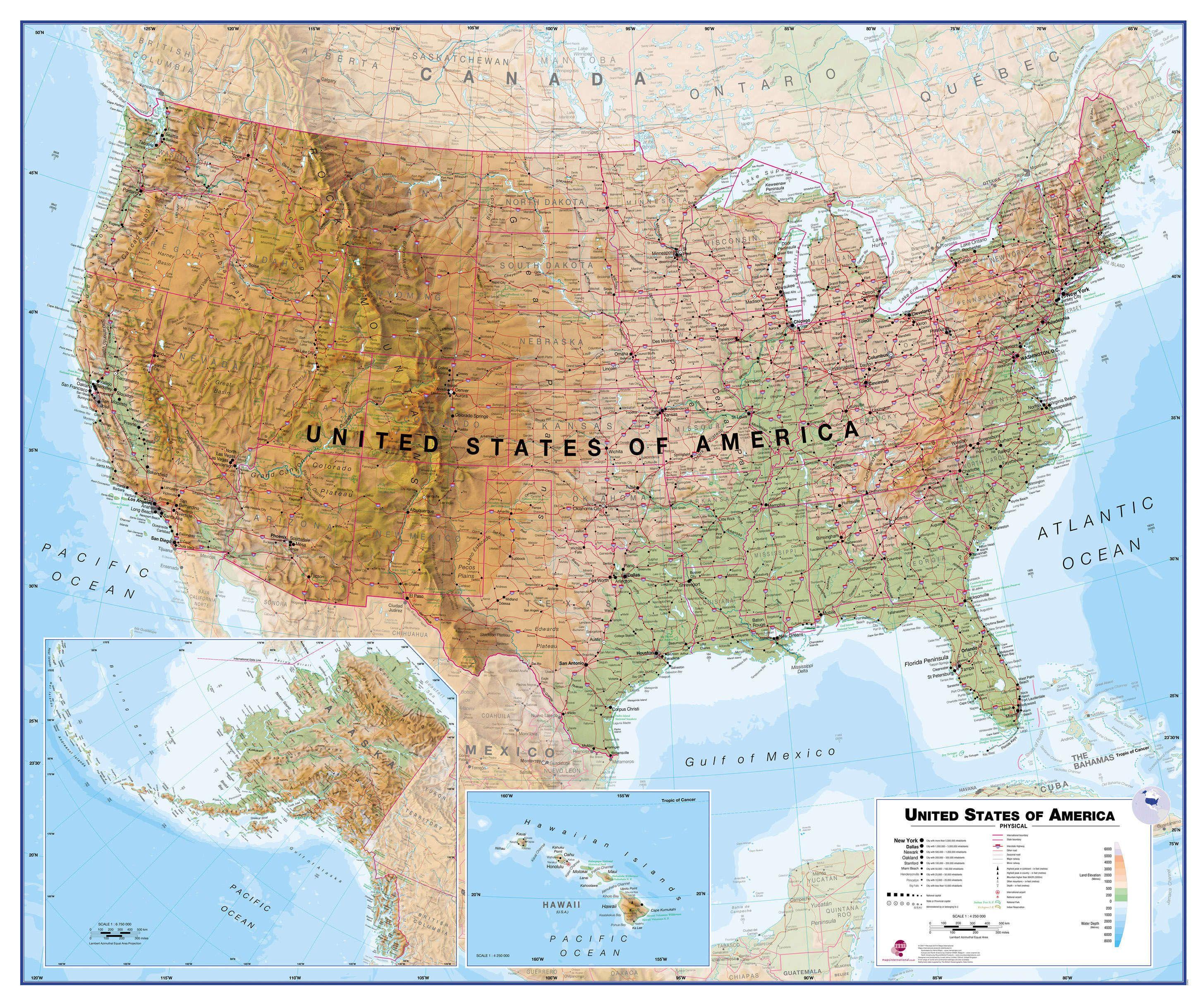 Physical Usa Wall Map