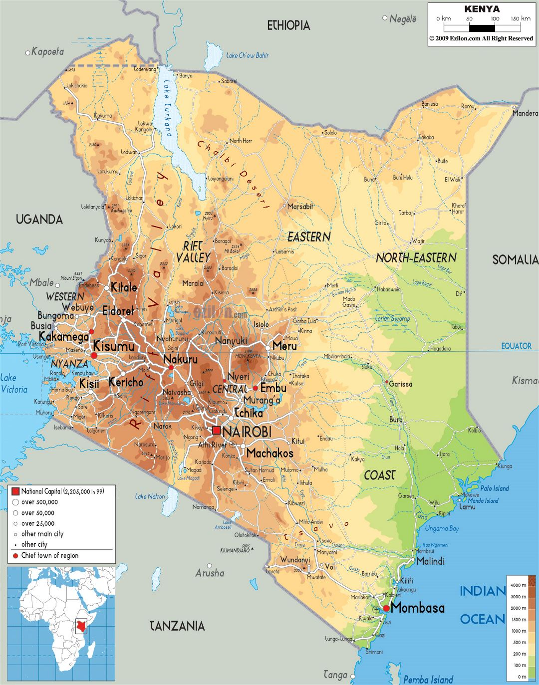 Large Physical Map Of Kenya With Roads Cities And