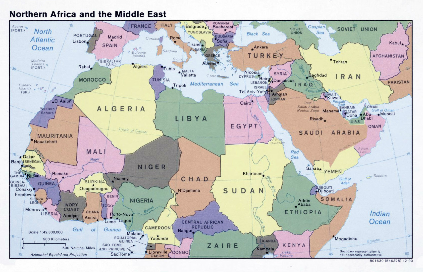 Large Political Map Of North Africa And The Middle East