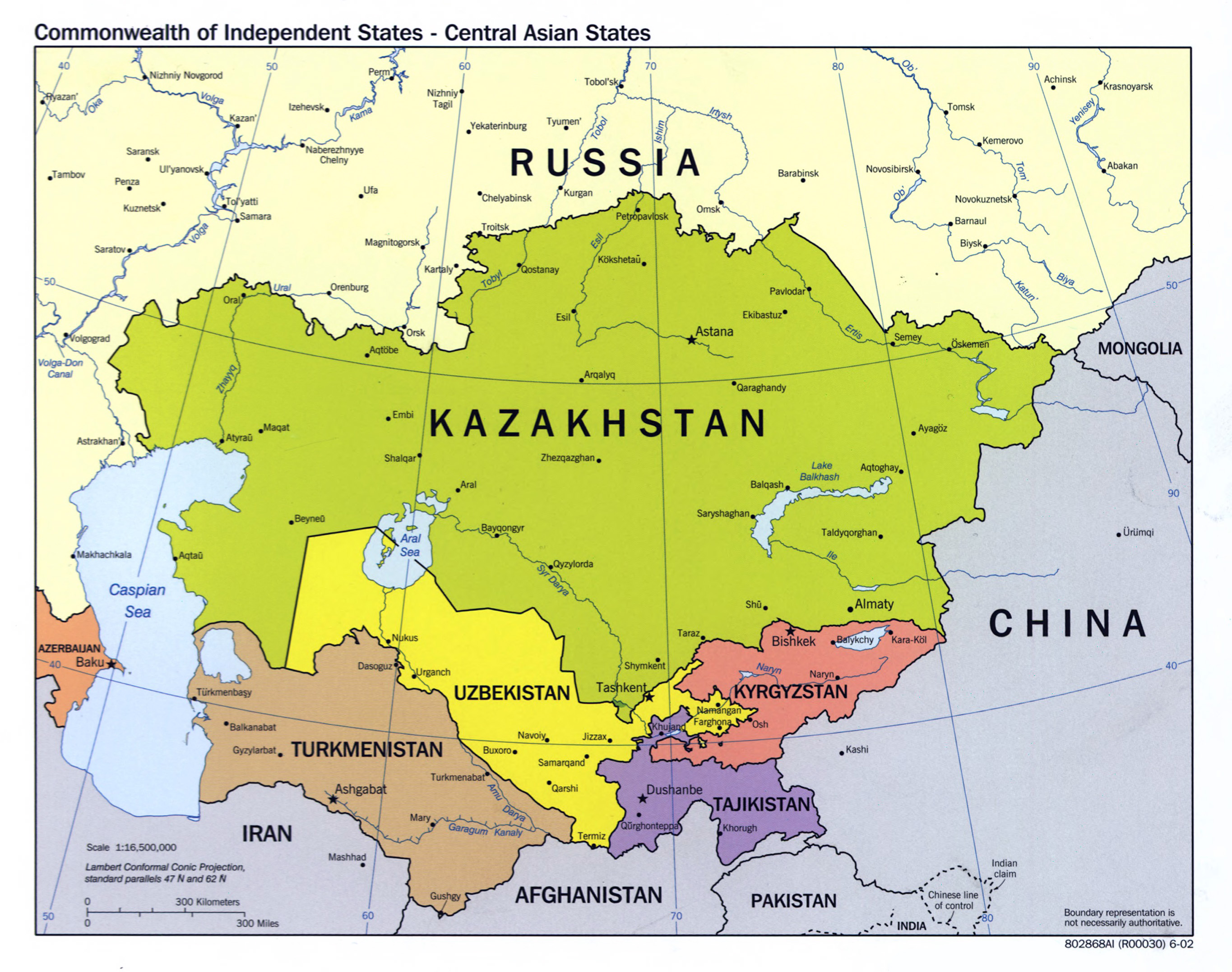 Large Scale Political Map Of Central Asian States