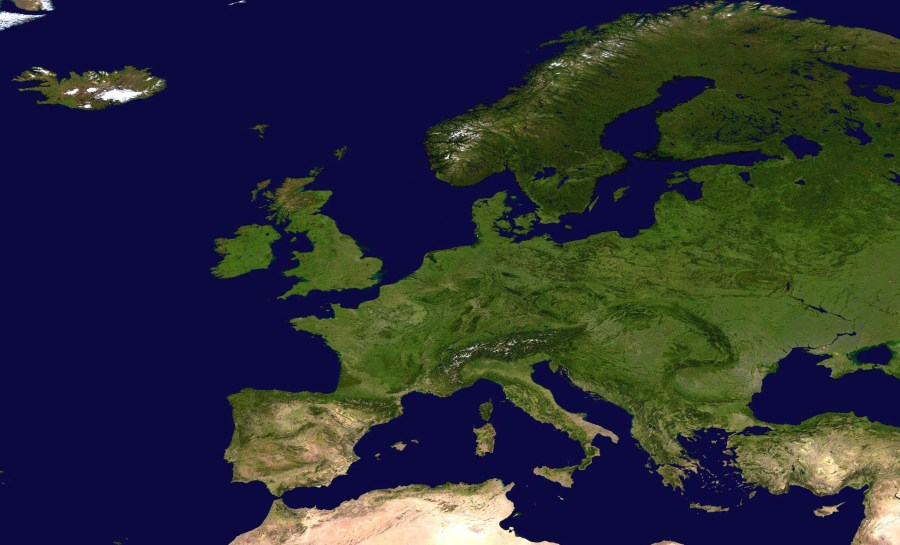 Large detailed satellite map of Europe   Europe   Mapsland   Maps of     Large detailed satellite map of Europe