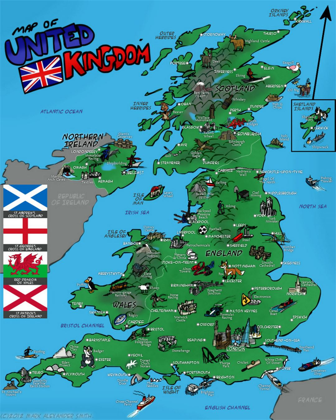 Tourist Illustrated Map Of United Kingdom
