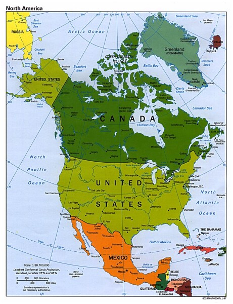 Detailed political map of North America with major cities   1997     Detailed political map of North America with major cities   1997