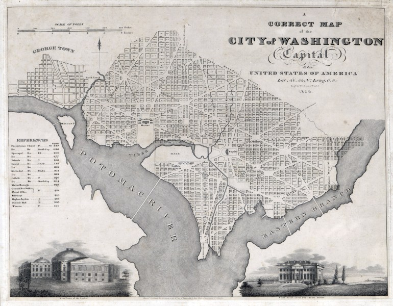 Large scale old map of the city of Washington   1820   Washington     Large scale old map of the city of Washington   1820