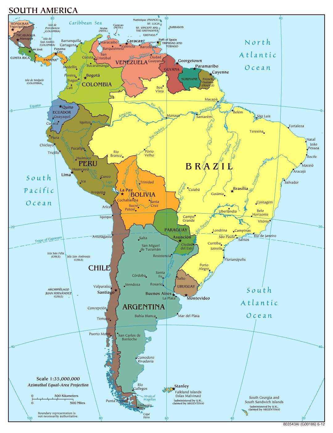Large Scale Political Map Of South America With Major