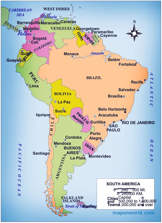 South America Map Usa