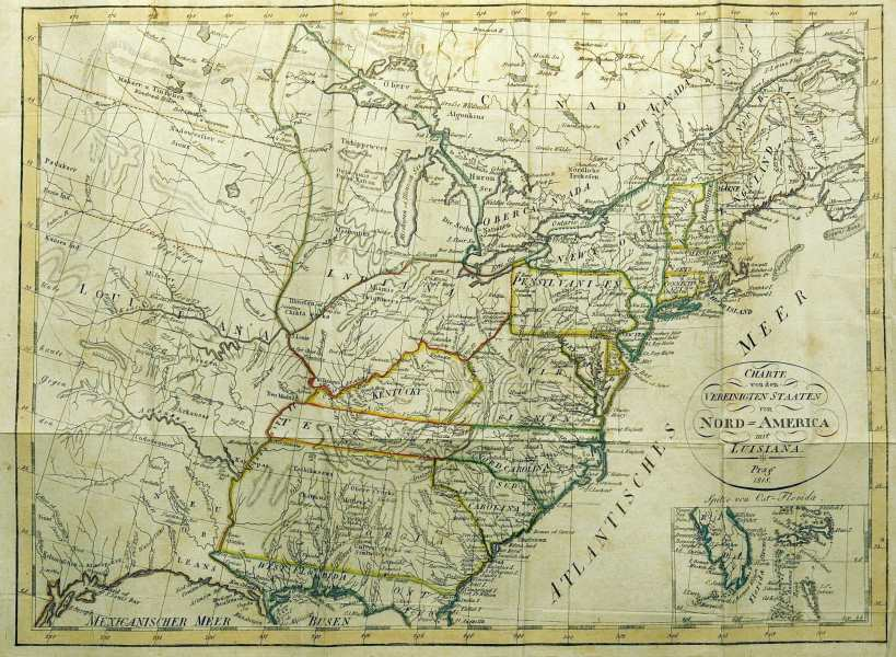 1810 s Pennsylvania Maps PRAG 1818  This anonymous German map  though printed in Prague  shows the  United States west to beyond the Mississippi