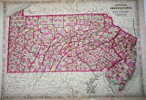 1860 s Pennsylvania Maps     and New Jersey
