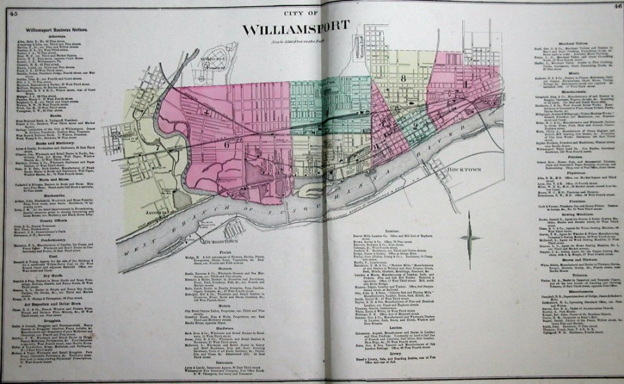 Pennsylvania County Atlas Sampler A City Map Atlases from counties lucky enough to contain a city usually  have a large double page city map  This map of Williamsport  in Lycoming  County