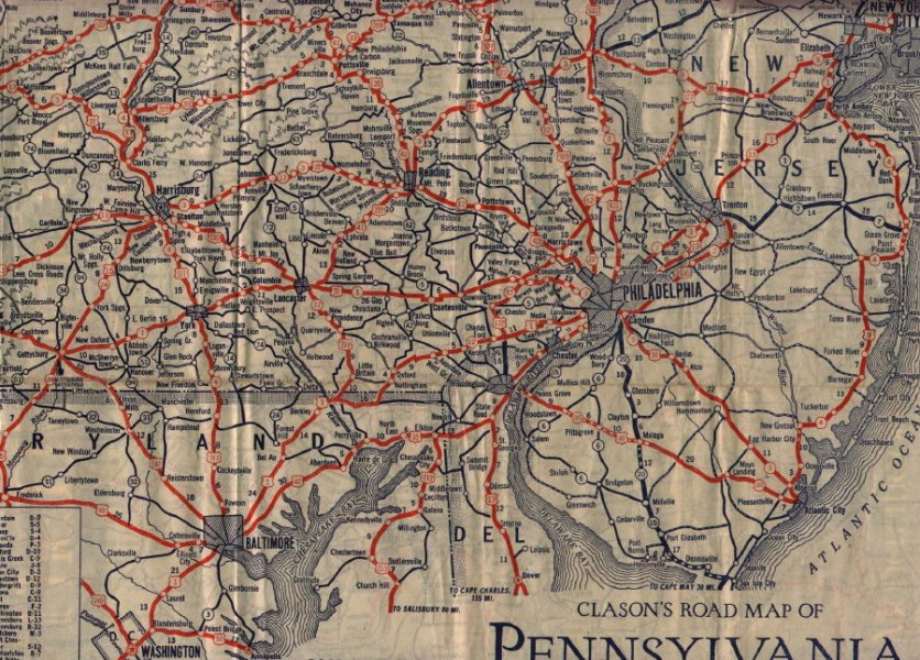 1930 s Road Maps of Pennsylvania     Map Image