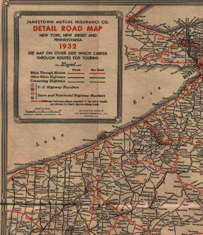1930 s Road Maps of Pennsylvania The map also includes most of New York and New Jersey  The verso has a map  of the northeast