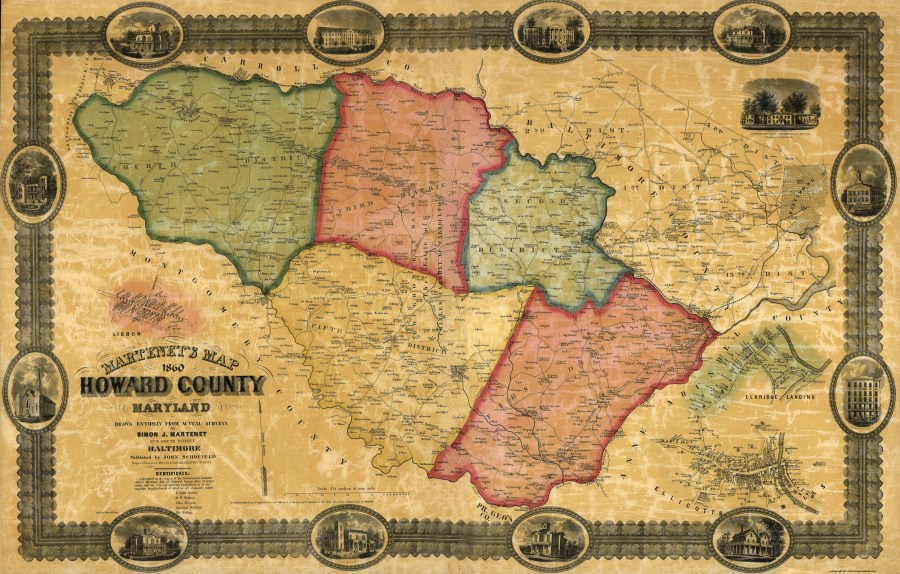 Old County Map   Howard Maryland Landowner   Martenet 1860   36 06 x 23 Double tap to zoom