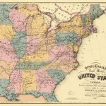 Old Map Us East Railroad Telegraph Stage Coach 1850