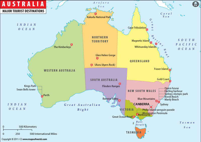 Australia Travel Map, Travel Map of Australia