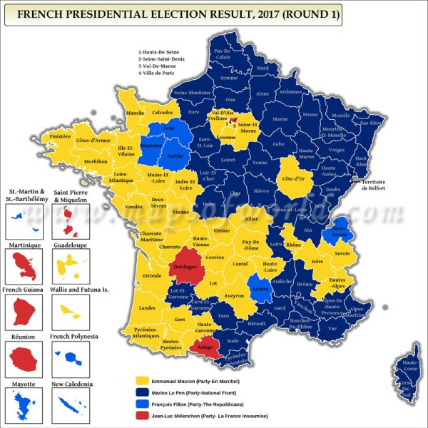 French Presidential Election Results 2017 & 2012 Map