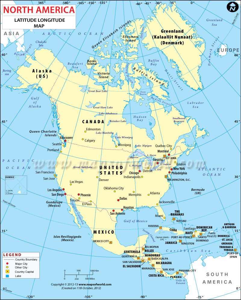 Lines of longitude and latitude are part of the grid system that helps us navigate the earth, but. North America Latitude And Longitude Map