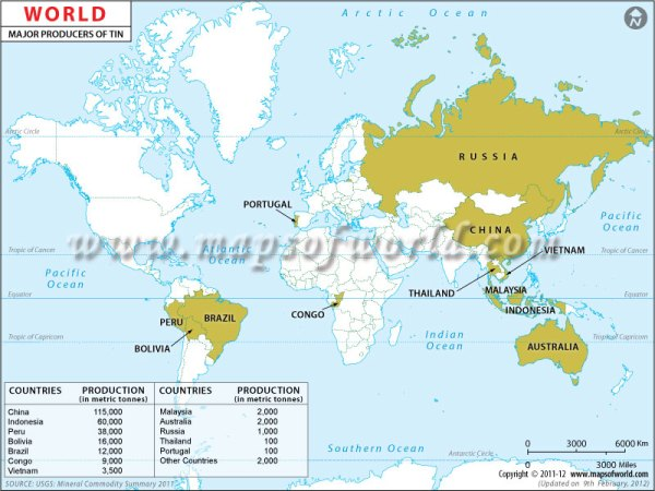 World Tin Producing Countries Map