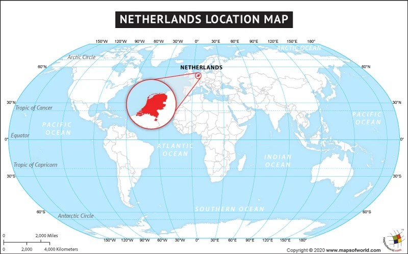 World Map Showing Holland