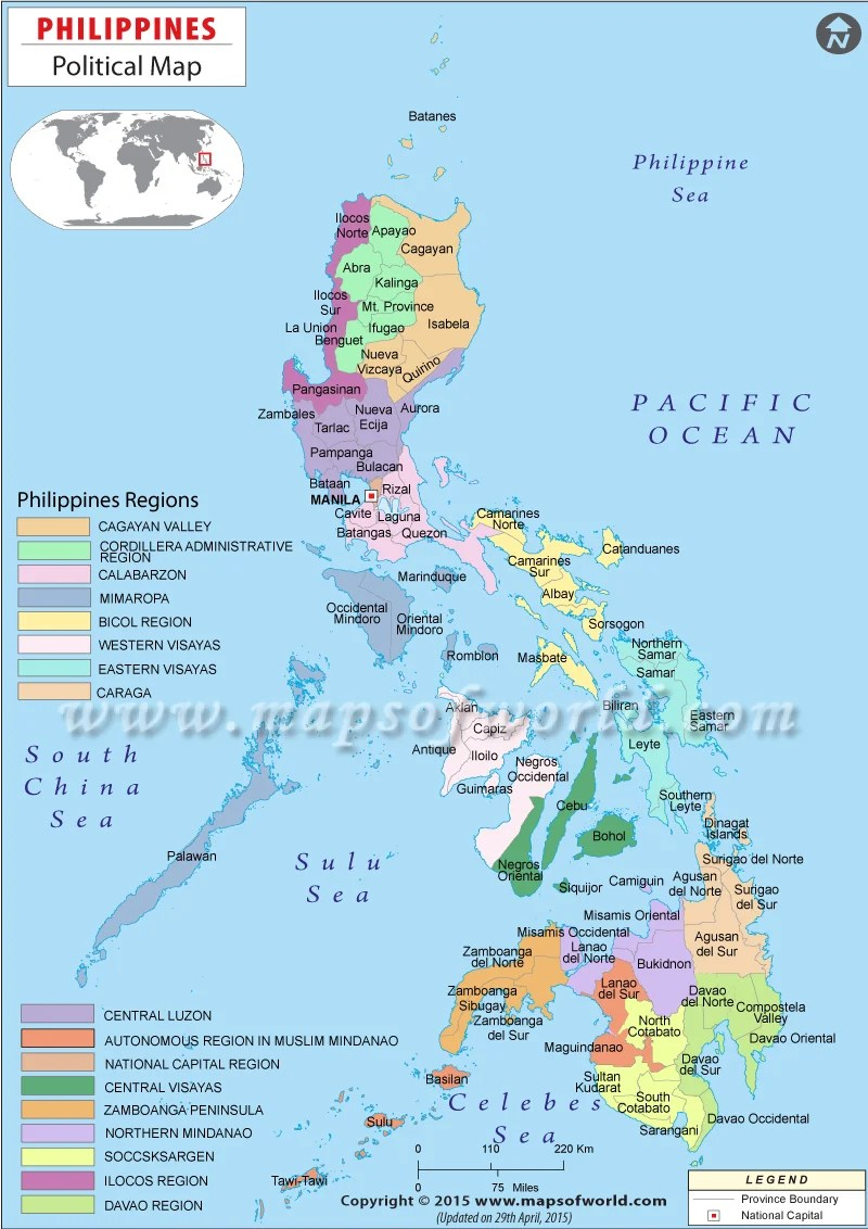 A political map of the country, Philippines